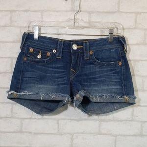True religion raw hem shorts size 27